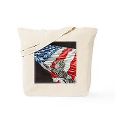 Fireman with American Flag Tote Bag