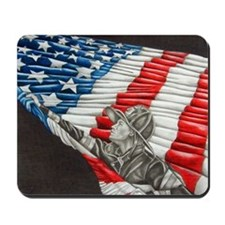 Fireman with American Flag Mousepad