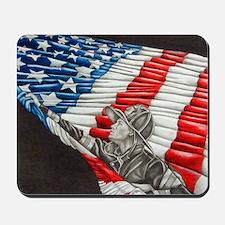 Fireman with American Flag Mousepad