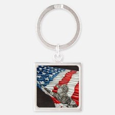 Fireman with American Flag Square Keychain