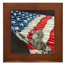 Fireman with American Flag Framed Tile