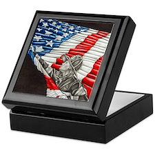 Fireman with American Flag Keepsake Box