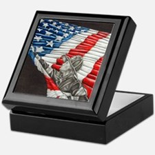 Fireman with American Flag Keepsake Box