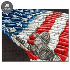 Fireman with American Flag Puzzle