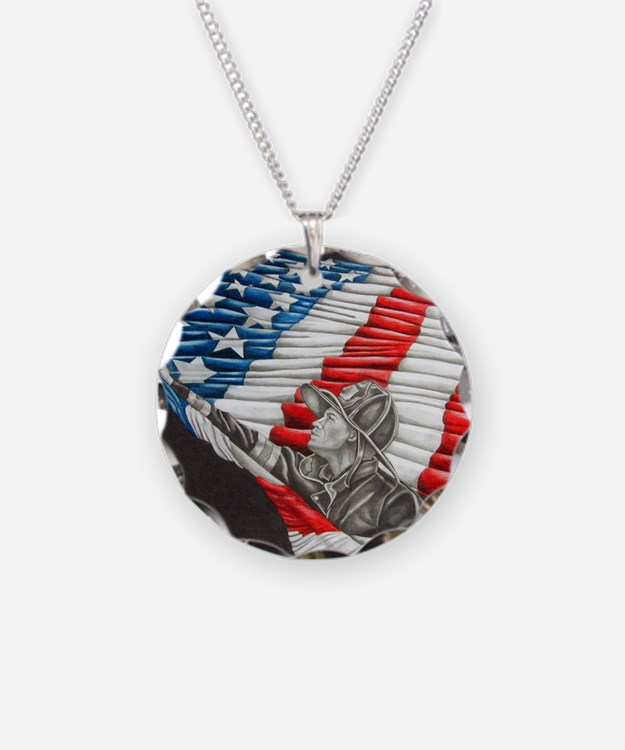 Fireman with American Flag Necklace