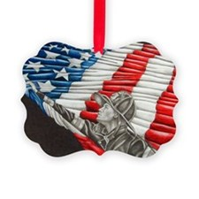 Fireman with American Flag Picture Ornament