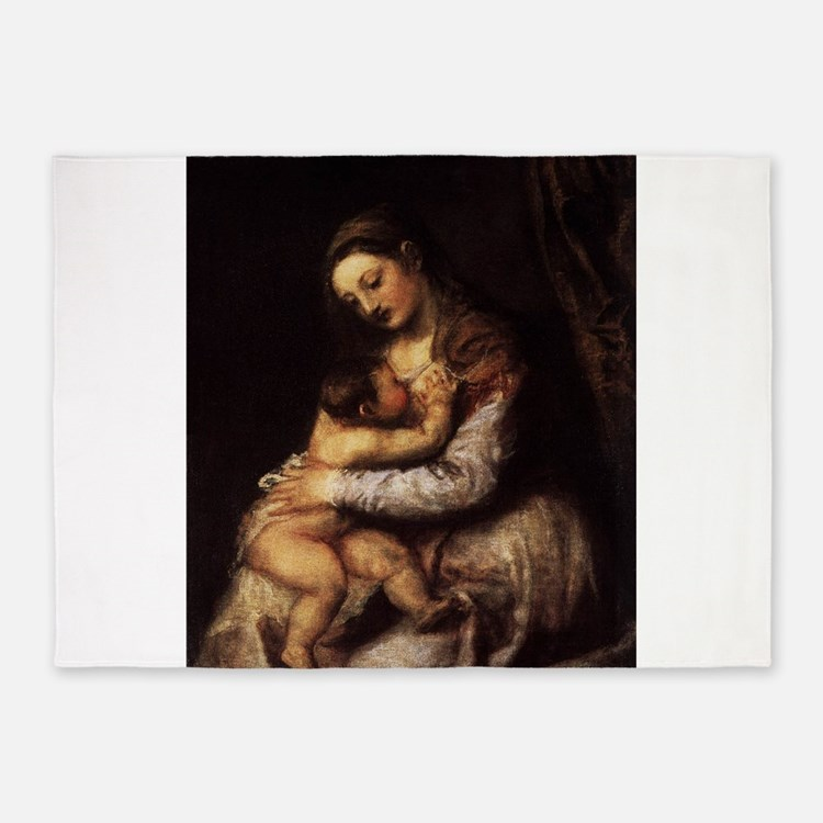 Madonna and child - Titian - c 1565 5'x7'Area Rug