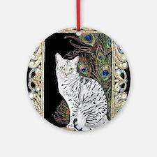Silver Egyptian Mau Round Ornament