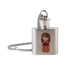 Kawaii Kokeshi Flower Flask Necklace