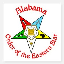 "Alabama Eastern Star Square Car Magnet 3"" x 3"""