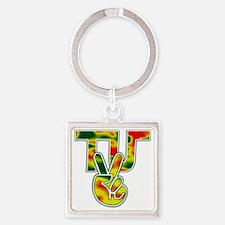 TydyUnify - Rasta Peace Fingers Square Keychain