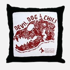 Devil Dog Chili Logo maroon Throw Pillow