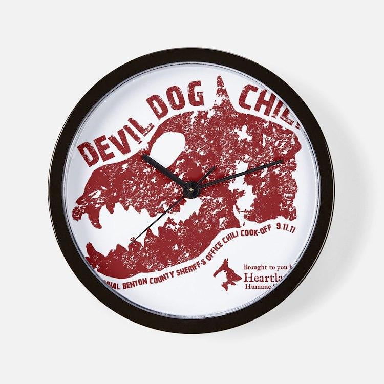 Devil Dog Chili Logo maroon Wall Clock