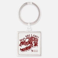 Devil Dog Chili Logo maroon Square Keychain