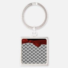 Decorative Damask Square Keychain