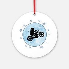 santa-moon-bike-T Round Ornament