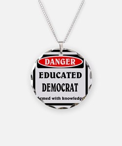 Educated Democrat Necklace Circle Charm