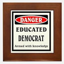 Educated Democrat Framed Tile