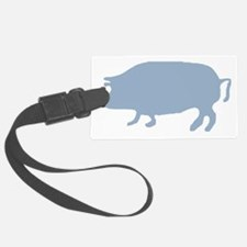 Light Blue Pig Silhouette Luggage Tag