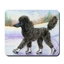 Black poodle takes to the ice Mousepad