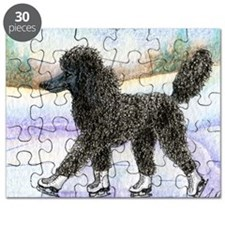 Black poodle takes to the ice Puzzle