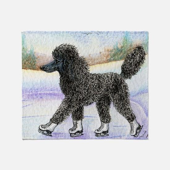 Black poodle takes to the ice Throw Blanket