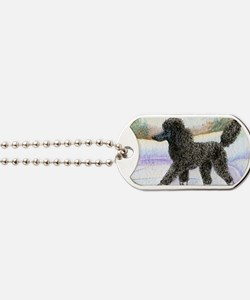 Black poodle takes to the ice Dog Tags