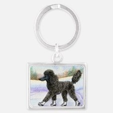 Black poodle takes to the ice Landscape Keychain