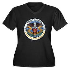 uss robert a Women's Plus Size Dark V-Neck T-Shirt