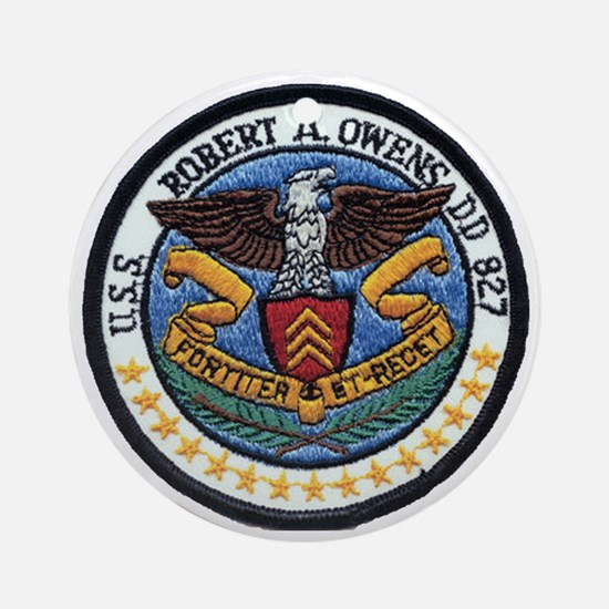 uss robert a. owens dd patch transp Round Ornament