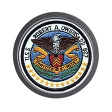 uss robert a. owens dd patch transparen Wall Clock