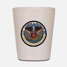 uss robert a. owens dd patch transparen Shot Glass