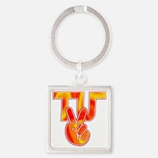 TydyUnify - Fire Peace Fingers Square Keychain