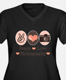 Peace Love Photography Camera Plus Size T-Shirt