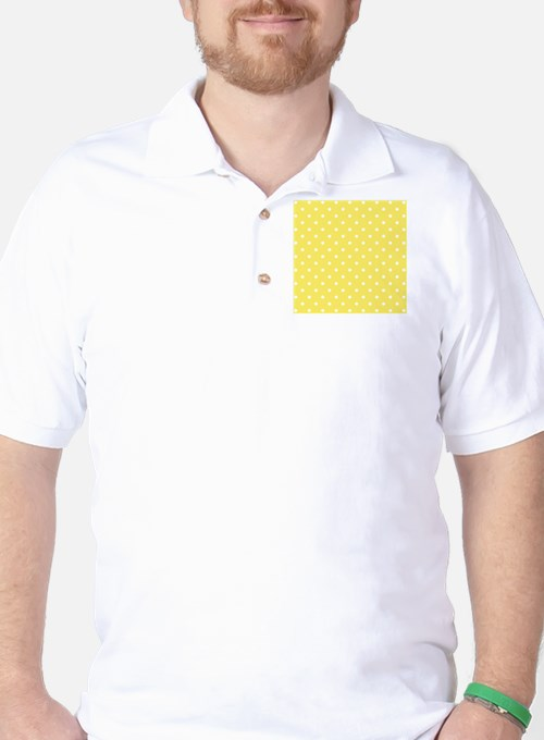 Yellow and White Dot Design. Golf Shirt