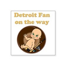 "Detroit Fan on the way Square Sticker 3"" x 3"""