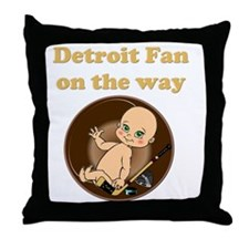 Detroit Fan on the way Throw Pillow
