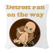 Detroit Fan on the way Woven Throw Pillow