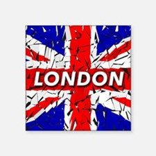 "London - Union Jack Square Sticker 3"" x 3"""