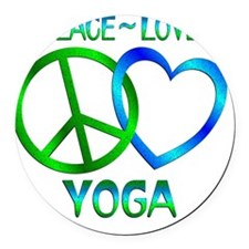 Peace Love Yoga Round Car Magnet