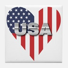USA Heart Shaped Flag Tile Coaster