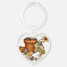 Gardener With Clay Pots Heart Keychain