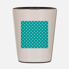 Teal dot pattern. Shot Glass