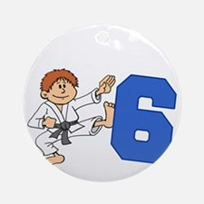 Martial Arts 6th Birthday Round Ornament