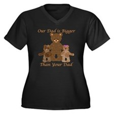 Our Dad is B Women's Plus Size Dark V-Neck T-Shirt
