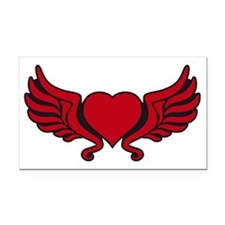 heart wings tribal floral cro Rectangle Car Magnet