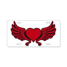 heart wings tribal floral c Aluminum License Plate