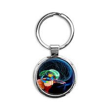 Human brain anatomy, artwork Round Keychain