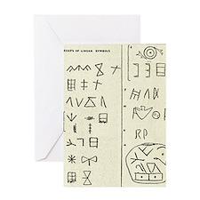 Linear script symbols Greeting Card