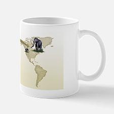 Mammoth evolutionary migration, artwork Mug
